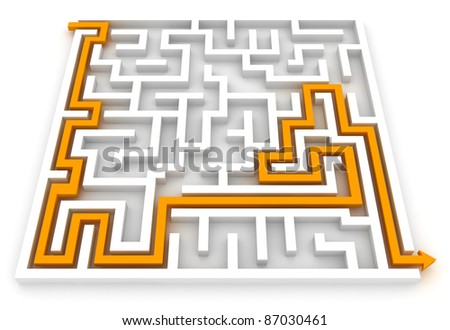 3D Illustration of an Arrow Pointing the Way Out of a Maze - stock photo