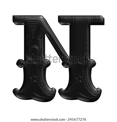 3D illustration of an English alphabet letter in ornaments. Letter - N
