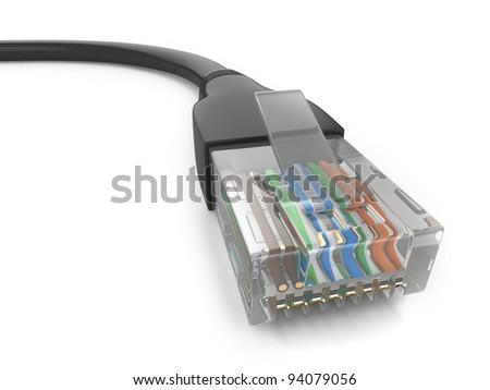 3D Illustration of an Ethernet Cable - stock photo