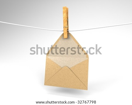 3D illustration of an evelope hanging on a clothesline - stock photo
