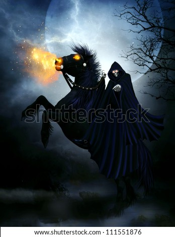 3d illustration of an evil skeleton wearing a dark blue hooded cloak and riding a black stallion with fire eyes and fire shooting out his mouth.  The background is a big moon and spooky trees. - stock photo