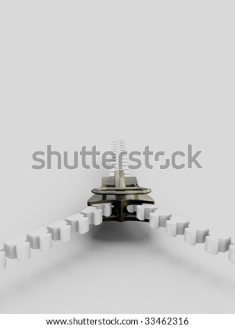 3d illustration of an isolated white and metal zipper - stock photo