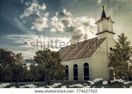 3d illustration of an old wooden country church