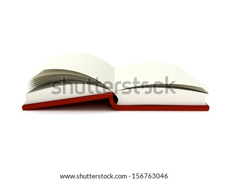 3D Illustration of an Open Book on white