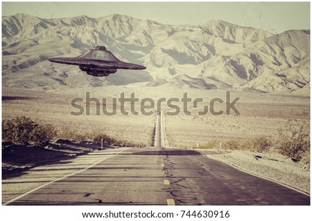 3d illustration of an unidentified flying object crossing an empty desert road