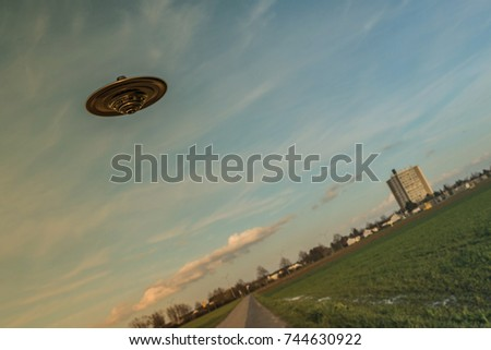 3d illustration of an unidentified flying object flying over a field