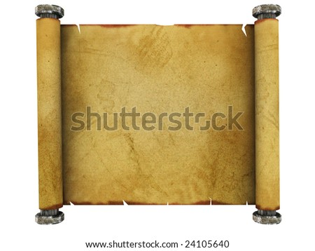3d illustration of ancient paper scroll isolated over white background - stock photo