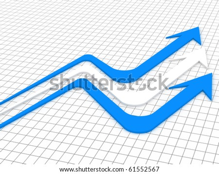3d illustration of arrow in white background - stock photo