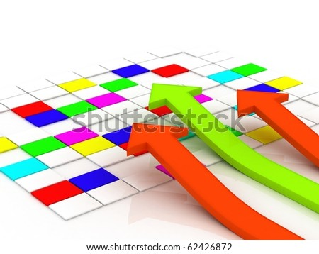 3d illustration of arrow showing rise in profit or earnings - stock photo