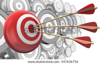 3d illustration of arrows with target sphere over many targets background