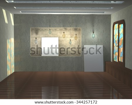 3D illustration of art interior with stained-glass window.  Front view with lamps and white canvases without images.