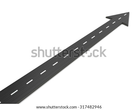 3d illustration of asphalt road with direction arrow, over white background - stock photo