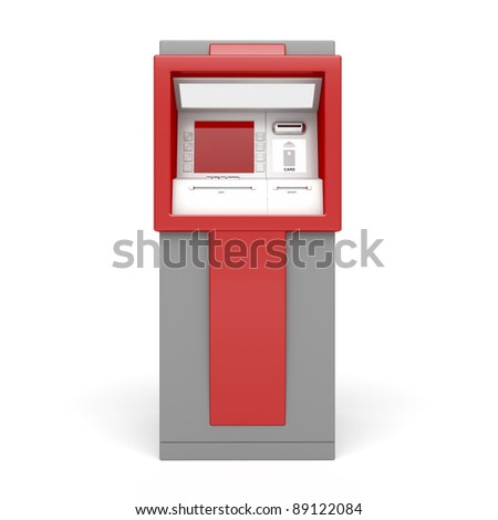 3d illustration of ATM on white background. Front view. - stock photo
