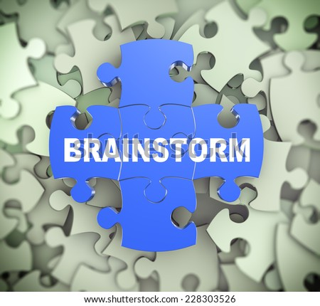 3d illustration of attached jigsaw puzzle pieces word brainstorm presentation on background of heap of puzzle pieces - stock photo