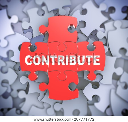 3d illustration of attached jigsaw puzzle pieces word contribute presentation on background of heap of puzzle pieces - stock photo