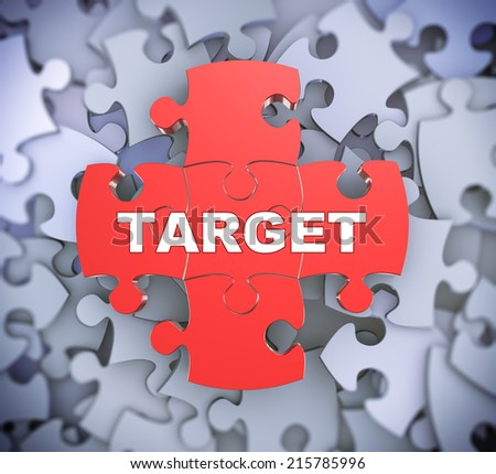 3d illustration of attached jigsaw puzzle pieces word target presentation on background of heap of puzzle pieces - stock photo