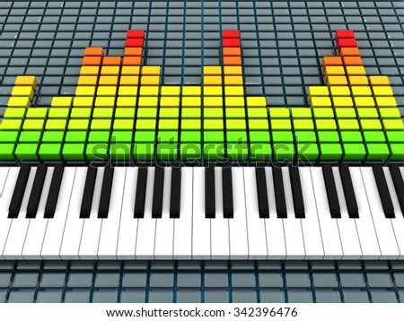3d illustration of audio spectrum and piano, music recording concept - stock photo