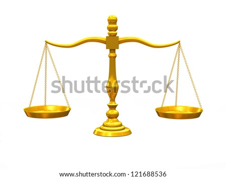 3d illustration of balance golden scale - stock photo