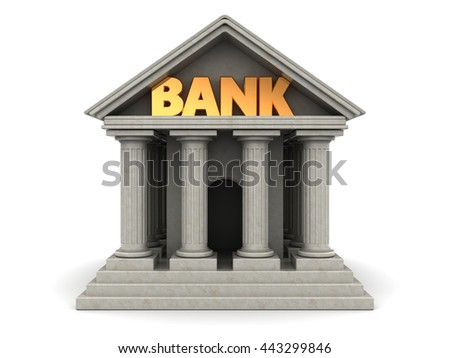 3d illustration of bank building with columns