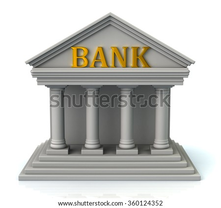 3d illustration of bank  isolated on white background - stock photo