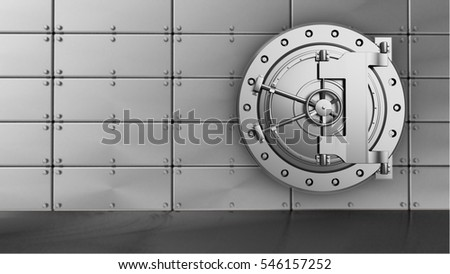 3d illustration of bank storage over steel panels background