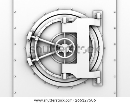 3d illustration of bank vaulted door white color - stock photo