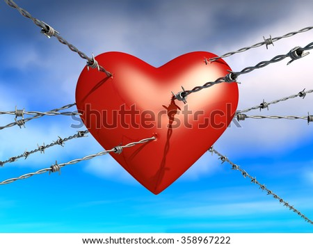 3d illustration of barbed wire across a heart - stock photo