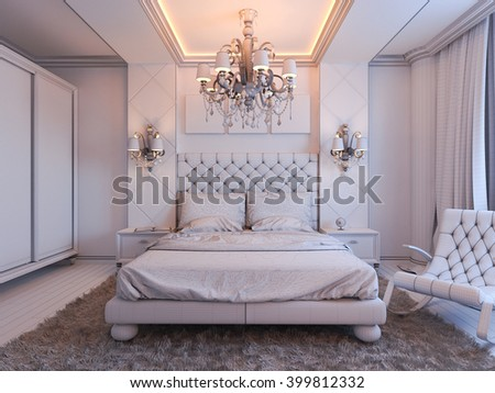 Perfect 3d Illustration Of Bedroom Interior Design In A Modern Classic Style.  Bedroom Displayed In The