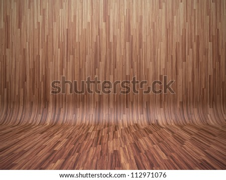 3D illustration of bent parquet background - stock photo
