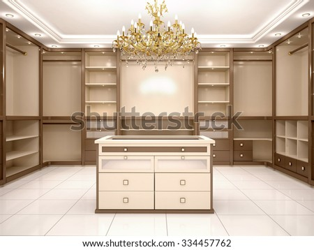 3d illustration of Big empty walk in wardrobe in luxurious house - stock photo