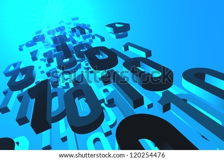 3d illustration of binary numbers flowing from or to the glowing source or destination.