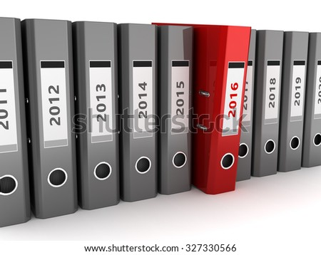 3d illustration of binder folders with 2016 year folder selected - stock photo