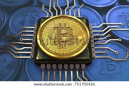 3d illustration of bitcoin over blue coins background with CPU
