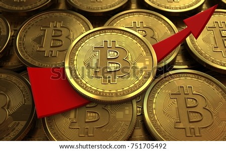 3d illustration of bitcoin over coins stacks background with up arrow
