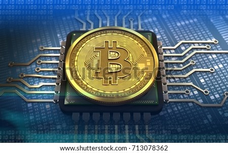 3d illustration of bitcoin over hexadecimal background with CPU