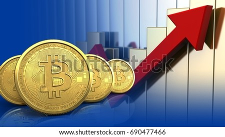 3d illustration of bitcoins row over rising charts background
