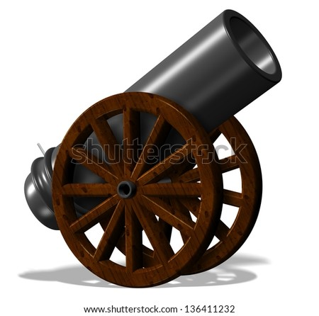 3d illustration of black antique cannon with wooden wheels / Cannon - stock photo
