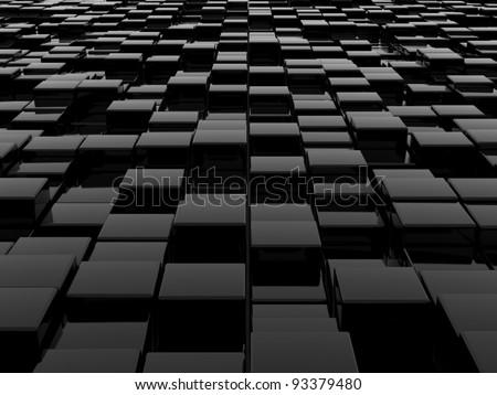 3d illustration of black blocks abstract background - stock photo