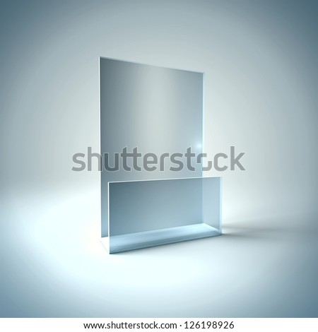 3D Illustration of Blank Brochure Glass Holder Render isolated on Background - stock photo