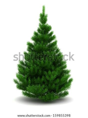 3d illustration of blank christmas tree isolated over white background - Blank Christmas Tree