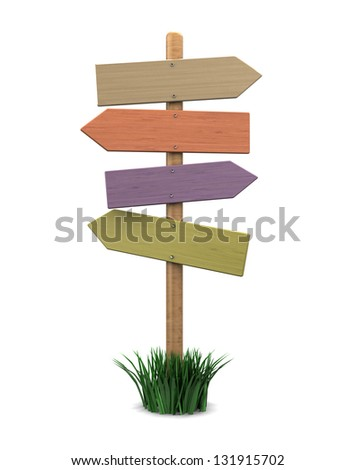 3d illustration of blank direction sign, over white background - stock photo
