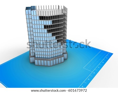 3d illustration of blank over blueprint background with city building