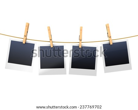 3d illustration of blank photos on clothesline, isolated over white background - stock photo