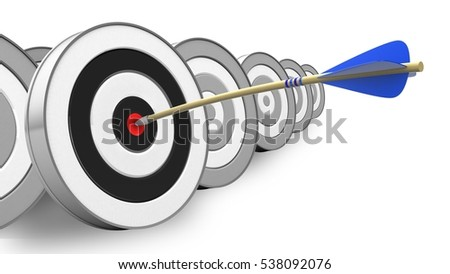 3d illustration of blue arrow with round target over white with targets background
