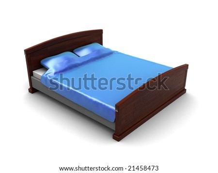 3d illustration of blue bed over white background - stock photo