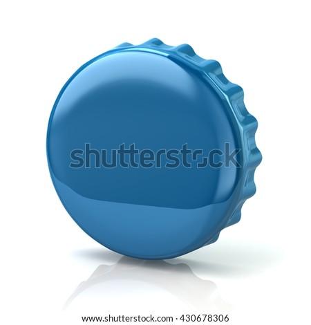 3d illustration of blue bottle cap isolated on white background - stock photo