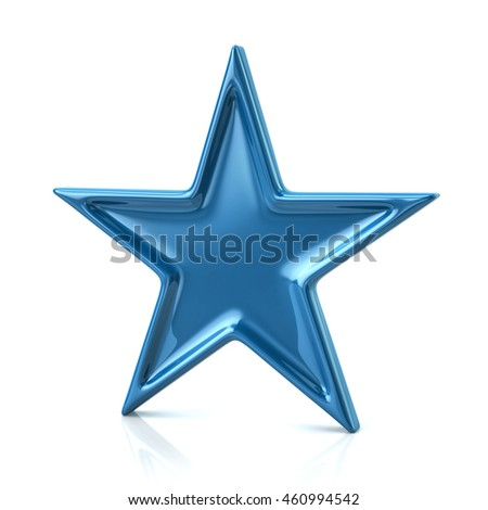 3d illustration of blue five-pointed star isolated on white background