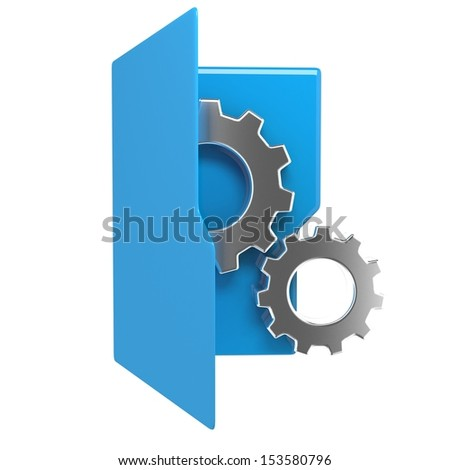 3d illustration of blue folder icon with gear wheel