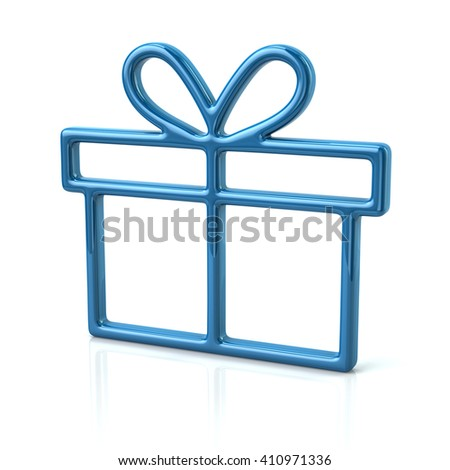 3d illustration of blue gift icon isolated on white background - stock photo