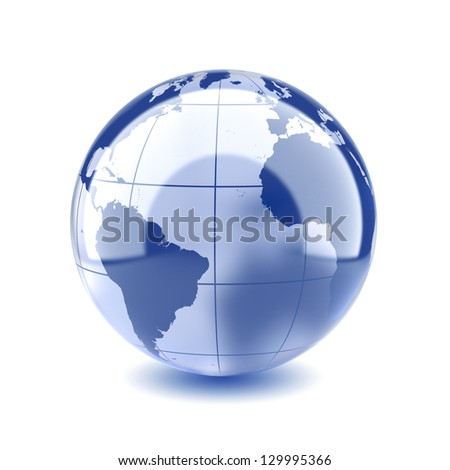 3d illustration of blue glass Earth planet. Isolated on white background. Elements of this image furnished by NASA